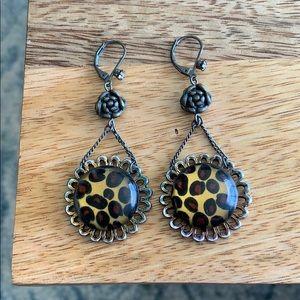 Betsey Johnson leopard print earrings
